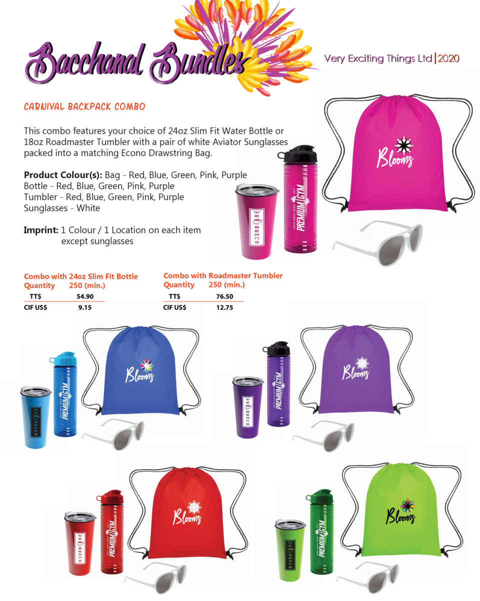 Bacchanal Bundles carnival backpack combo This combo features your choice of 24oz Slim Fit Water Bottle or 18oz Roadmaster...