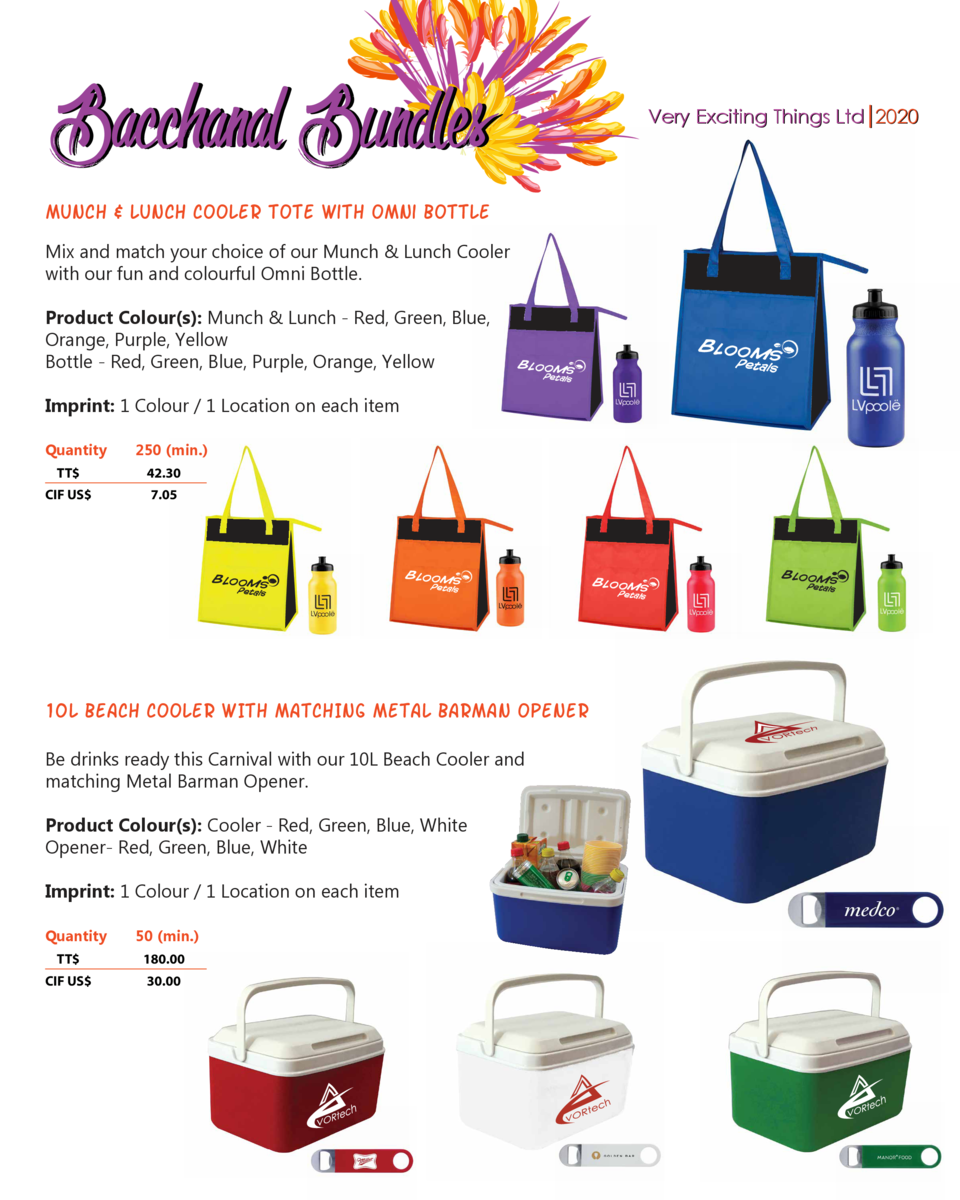 Bacchanal Bundles  Very Exciting Things Ltd 2020  munch   Lunch Cooler tote with Omni Bottle Mix and match your choice of ...