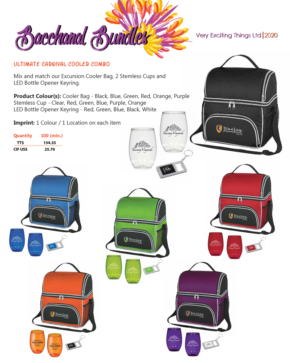 Bacchanal Bundles ultimate carnival cooler combo Mix and match our Excursion Cooler Bag, 2 Stemless Cups and LED Bottle Op...