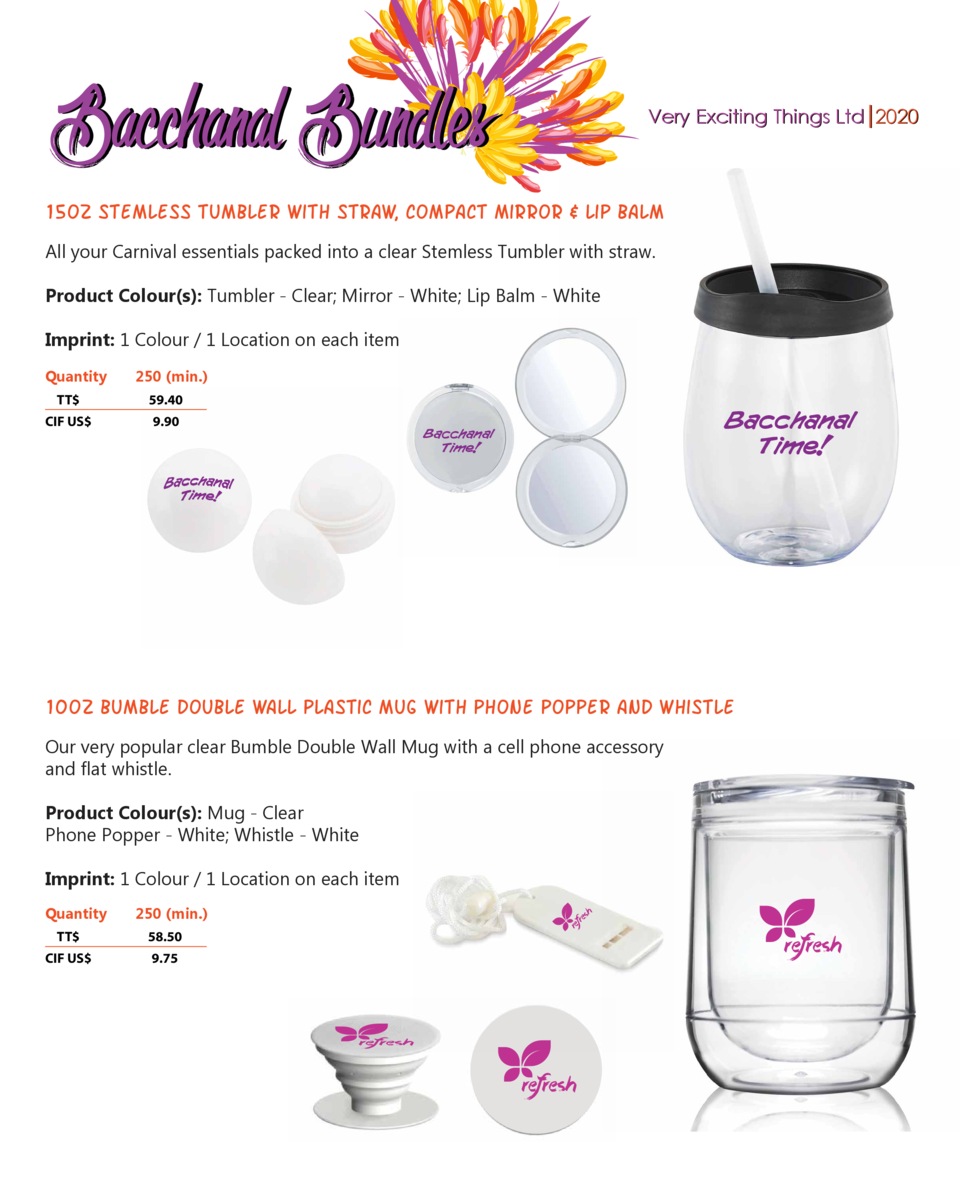 Bacchanal Bundles  Very Exciting Things Ltd 2020  15oz stemless tumbler with straw, compact mirror   Lip balm All your Car...