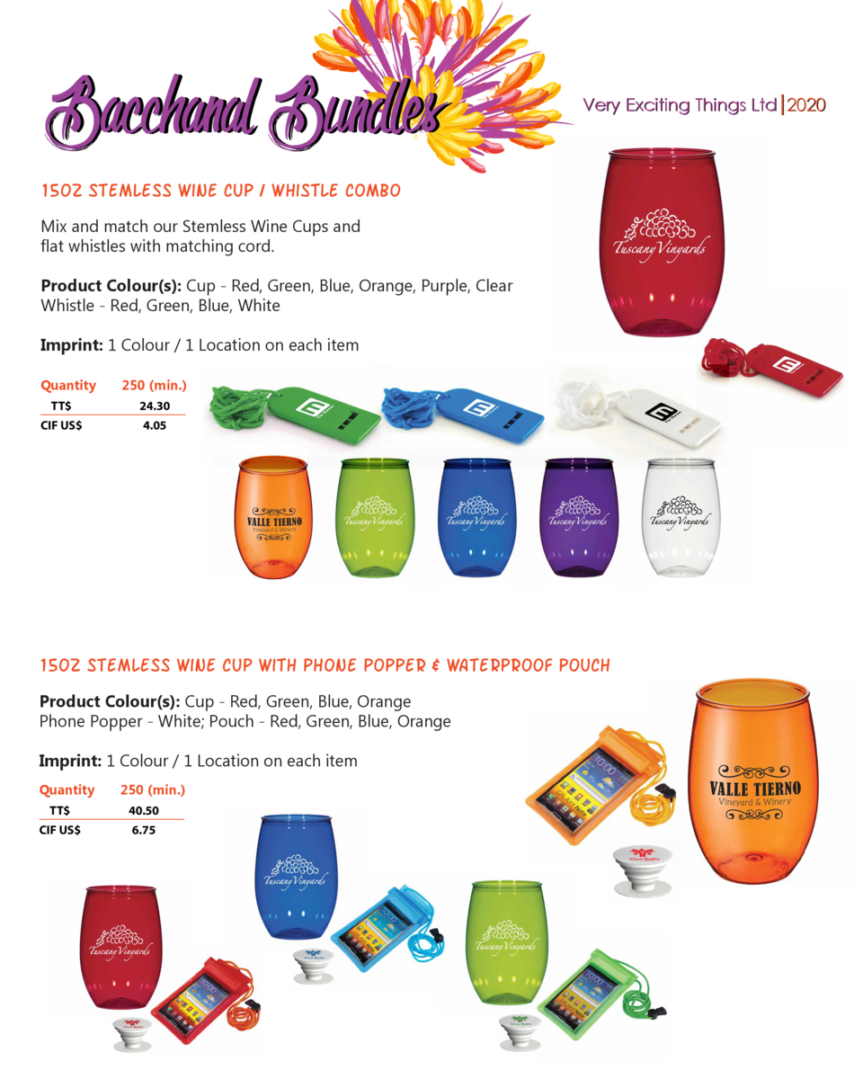Bacchanal Bundles  Very Exciting Things Ltd 2020  15oz Stemless Wine Cup   Whistle Combo Mix and match our Stemless Wine C...