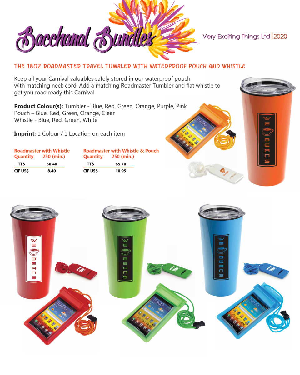 Bacchanal Bundles  Very Exciting Things Ltd 2020  THE 18OZ ROADMASTER tRAVEL TUMBLER WITH waterproof pouch and whistle Kee...