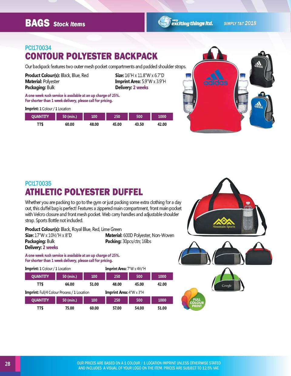 BAGs  BAGs  Stock Items  Stock Items  PCI170034  PCI170036  Our backpack features two outer mesh pocket compartments and p...
