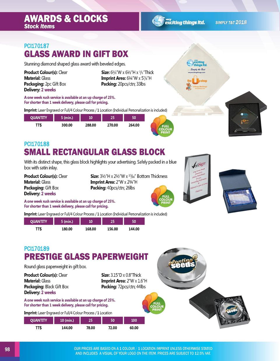 AWARDS   CLOCKS  AWARDS   CLOCKS  PCI170187  PCI170190  Stock Items  Stock Items  GLASS AWARD IN GIFT BOX  LARGE CRYSTAL D...