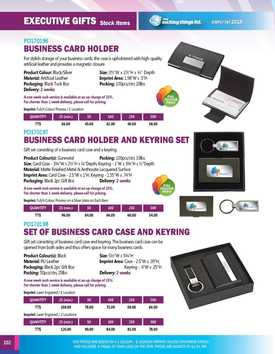 EXECUTIVE GIFTS  EXECUTIVE GIFTS  Stock Items  PCI170196  PCI170199  For stylish storage of your business cards  the case ...