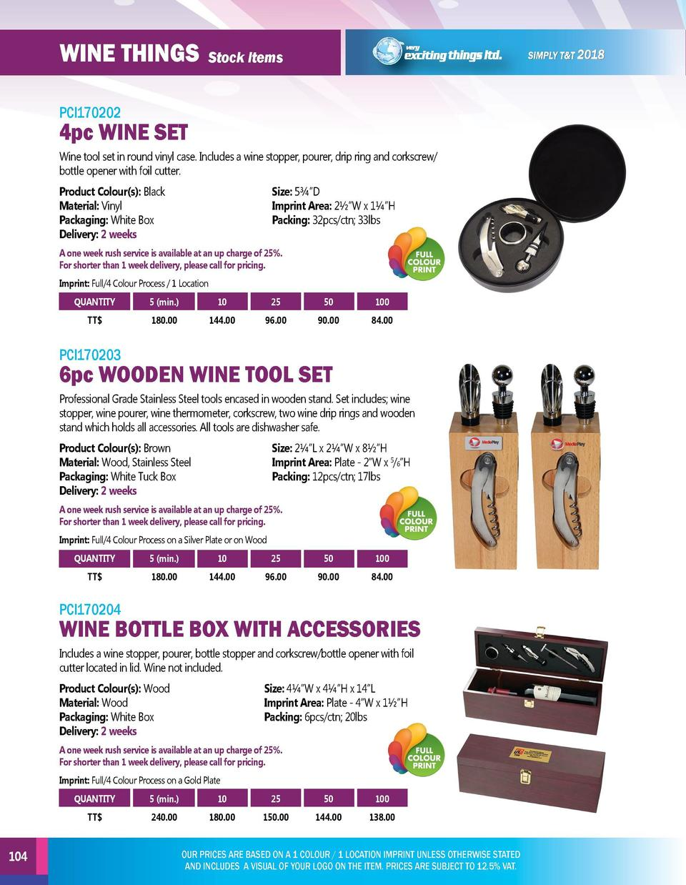 WINE THINGS  MAKE IT A GIFT  Stock Items  Stock Items  PCI170202  PCI170205  Wine tool set in round vinyl case. Includes a...