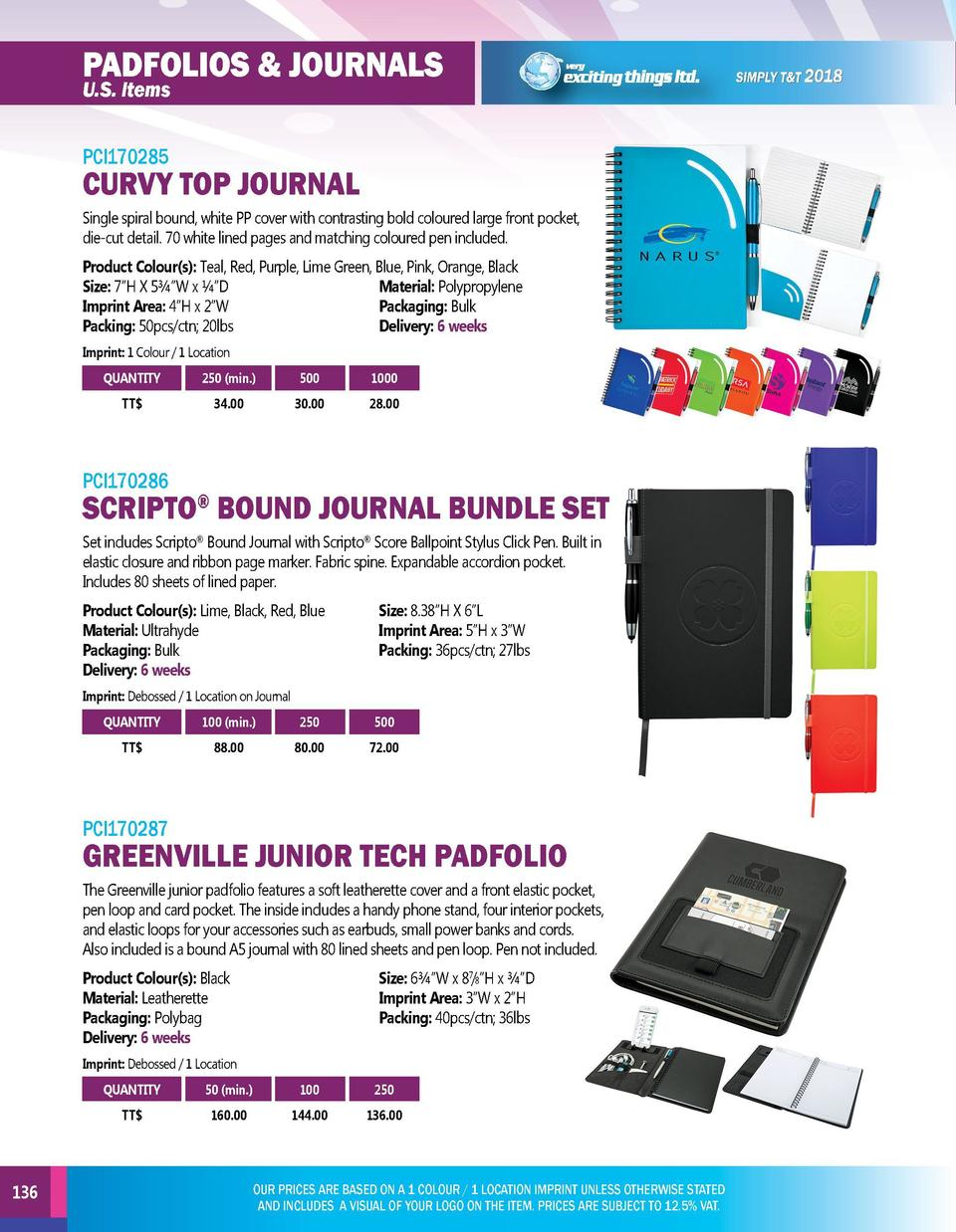 PADFOLIOS   JOURNALS U.S. Items  MOBILE TECH U.S. Items  PCI170285  PCI170288  Single spiral bound, white PP cover with co...