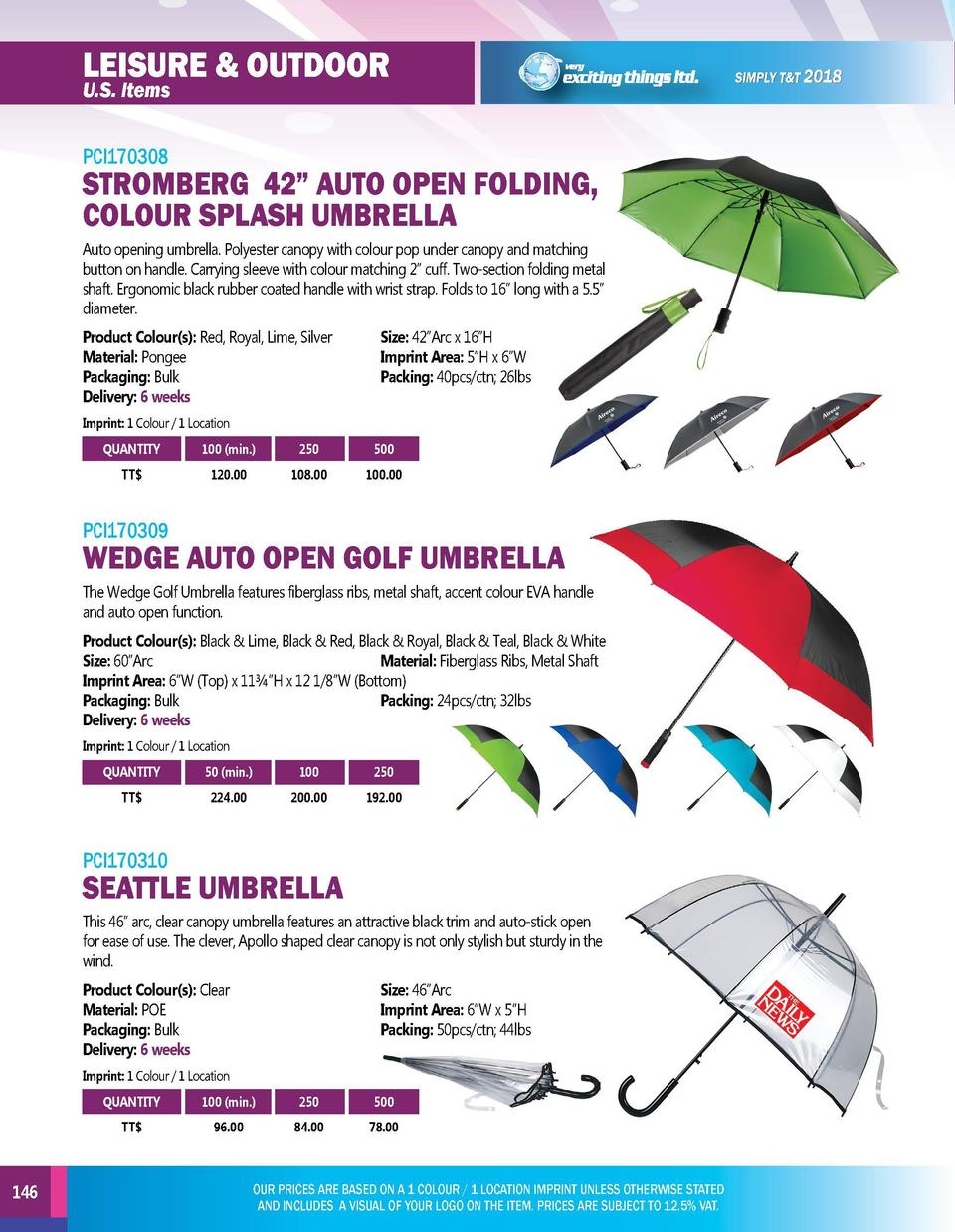 LEISURE   OUTDOOR U.S. Items  GOLF ITEMS  PCI170308  PCI170311  Auto opening umbrella. Polyester canopy with colour pop un...