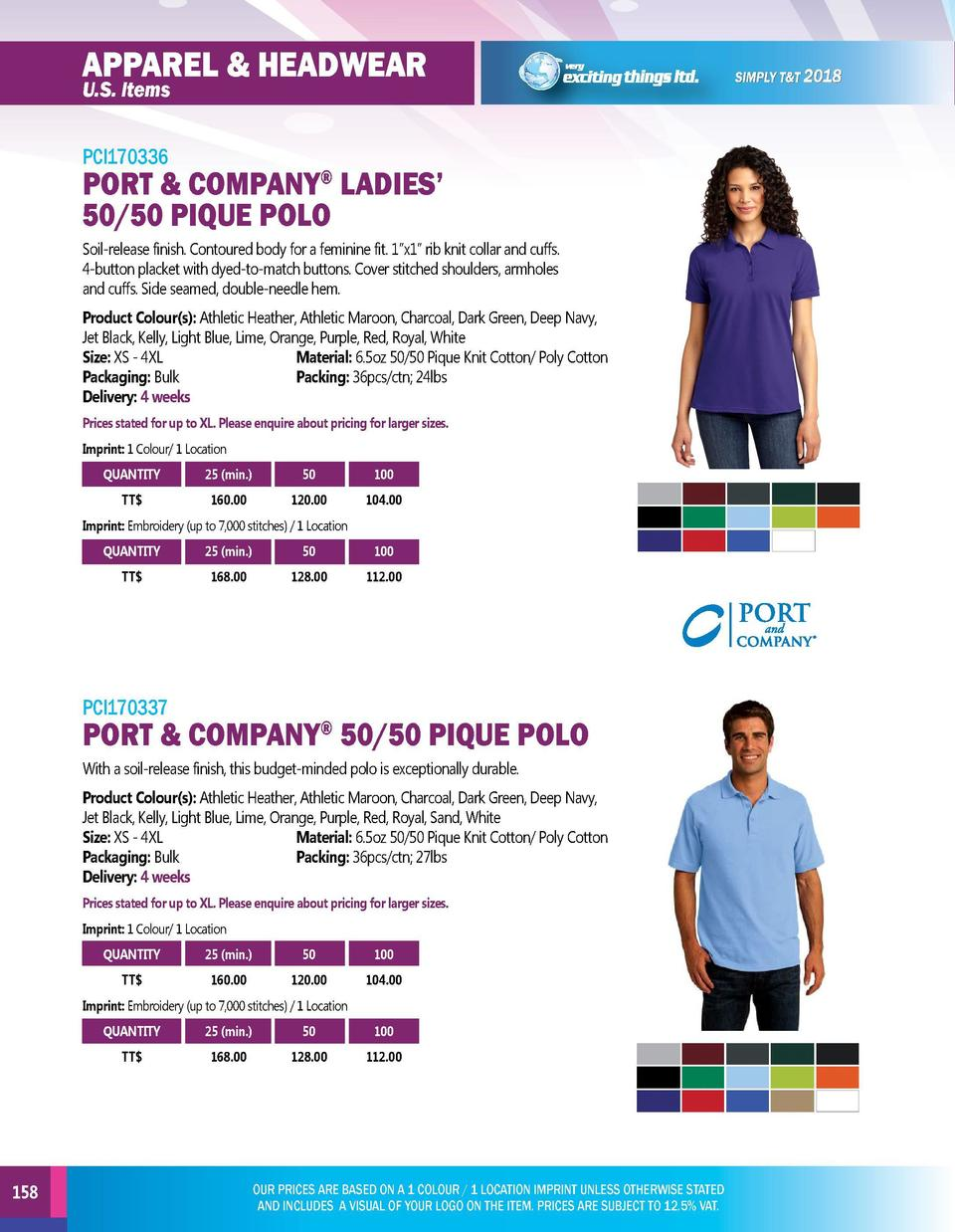 APPAREL   HEADWEAR  APPAREL   HEADWEAR  PCI170336  PCI170338  U.S. Items  PORT   COMPANY LADIES    50 50 PIQUE POLO     So...