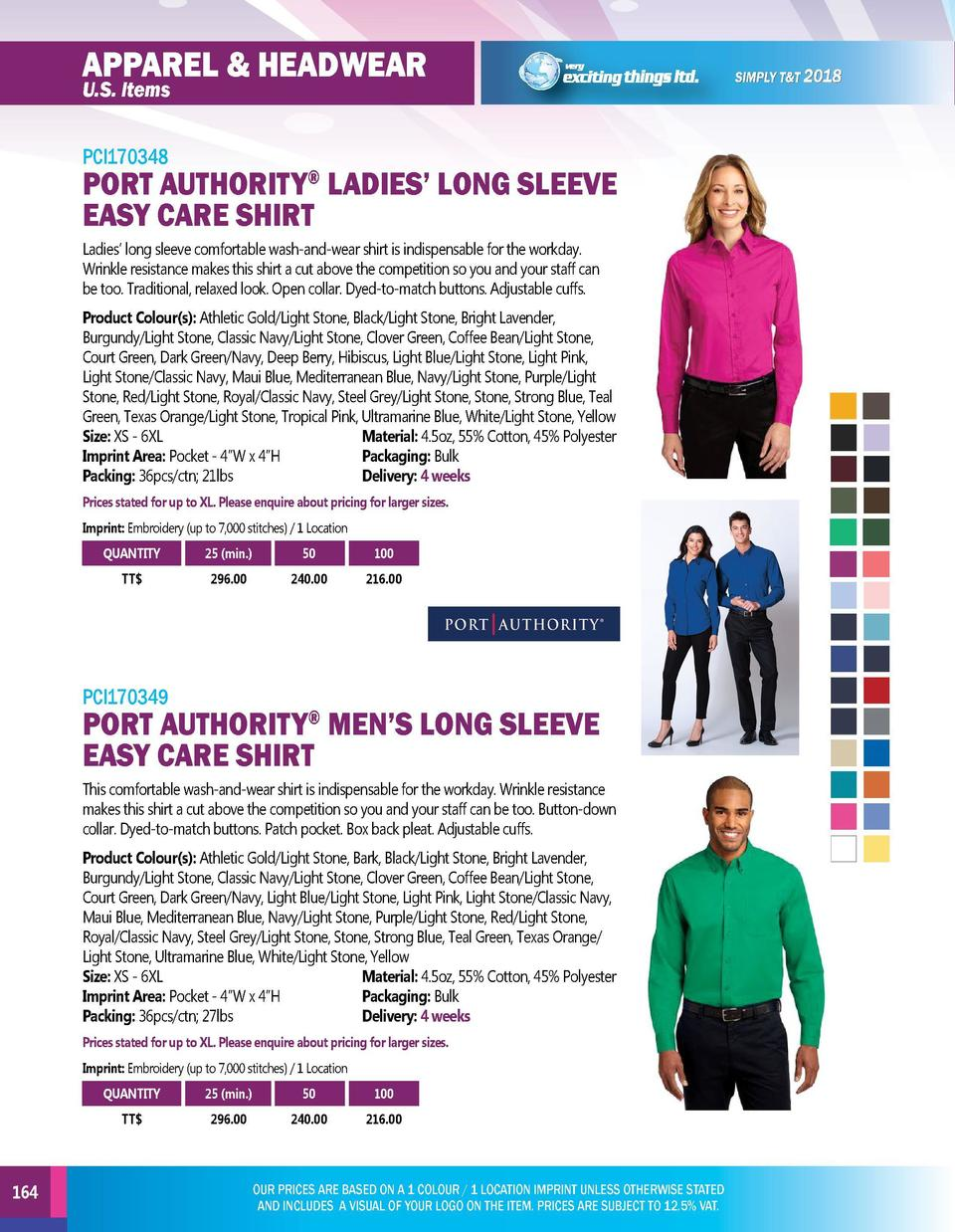 APPAREL   HEADWEAR  APPAREL   HEADWEAR  PCI170348  PCI170350  U.S. Items  PORT AUTHORITY LADIES    LONG SLEEVE EASY CARE S...