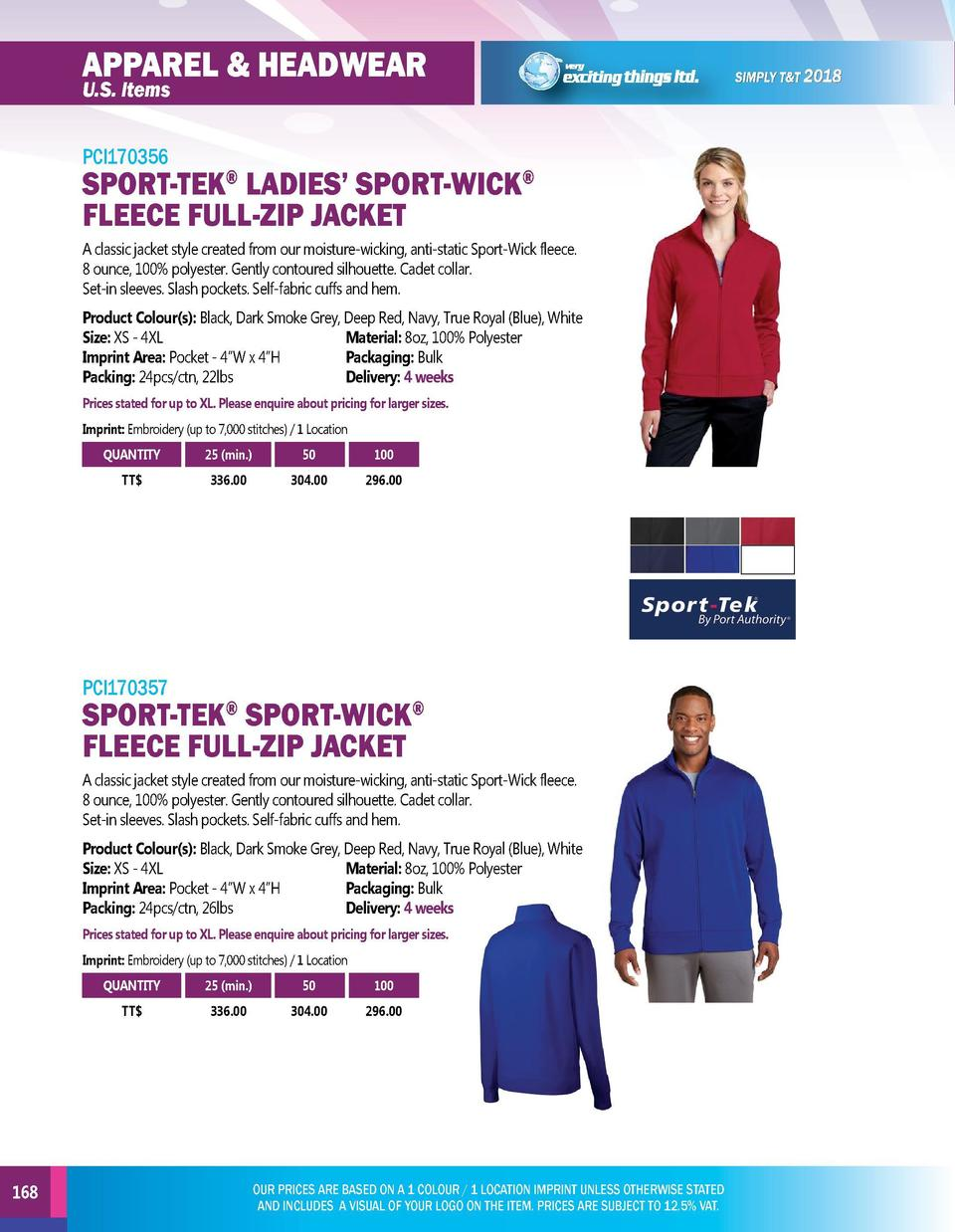 APPAREL   HEADWEAR  APPAREL   HEADWEAR  U.S. Items  PCI170356  U.S. Items  SPORT-TEK LADIES    SPORT-WICK FLEECE FULL-ZIP ...