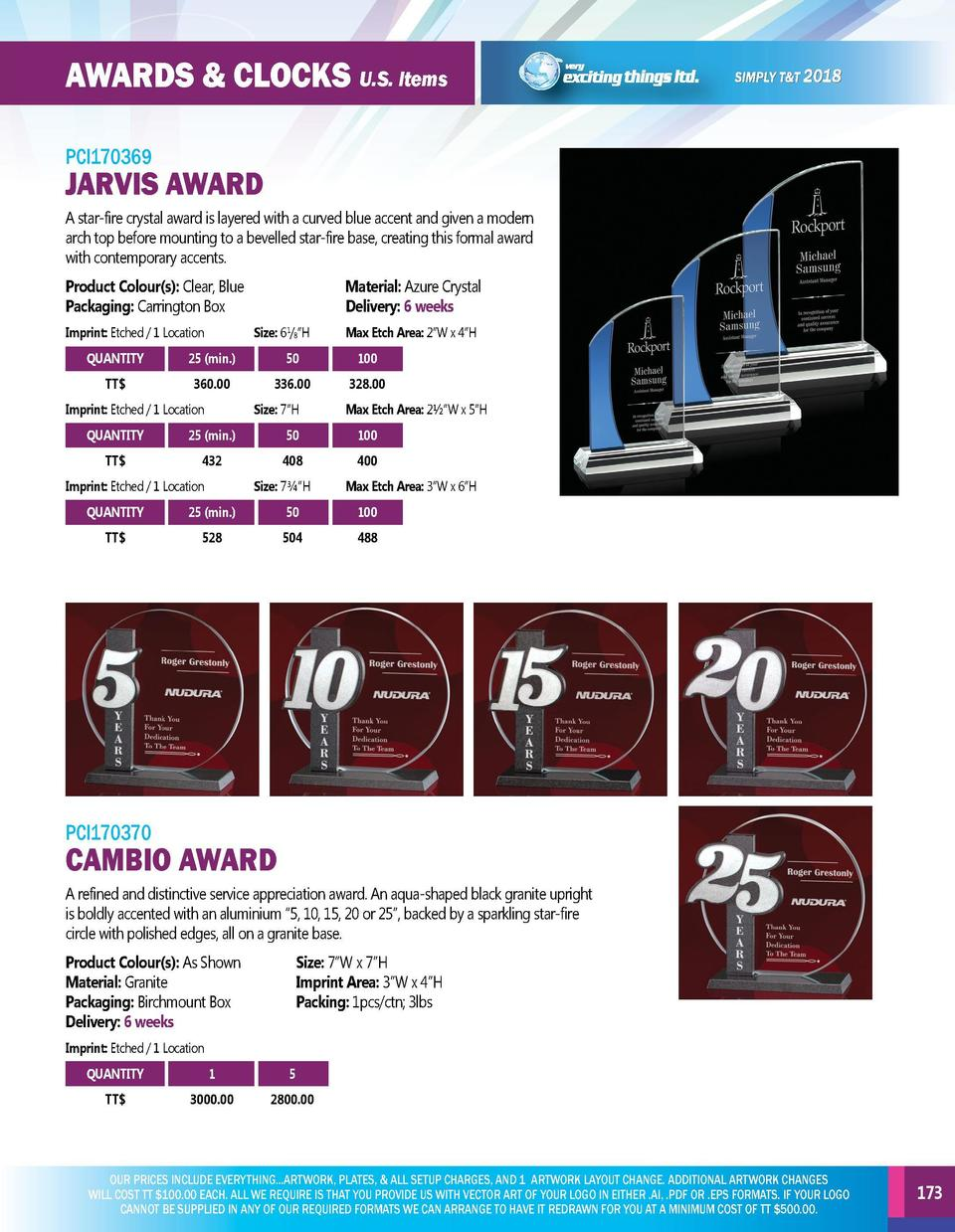 AWARDS   CLOCKS U.S. Items  AWARDS   CLOCKS U.S. Items  PCI170366  PCI170369  Recognize and reward those individuals who h...