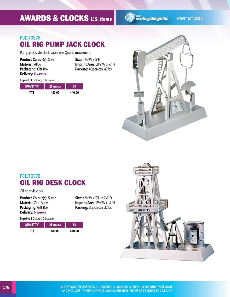 AWARDS   CLOCKS U.S. Items  EXECUTIVE GIFTS U.S. Items  PCI170375  PCI170377  Pump jack style clock. Japanese Quartz movem...