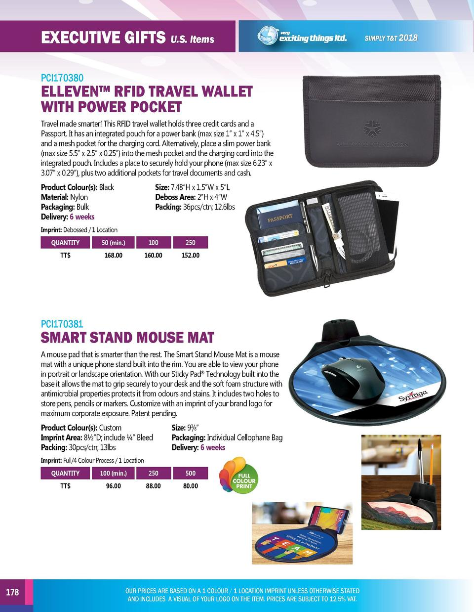 EXECUTIVE GIFTS U.S. Items  EXECUTIVE GIFTS U.S. Items  PCI170380  PCI170382  ELLEVEN    RFID TRAVEL WALLET WITH POWER POC...