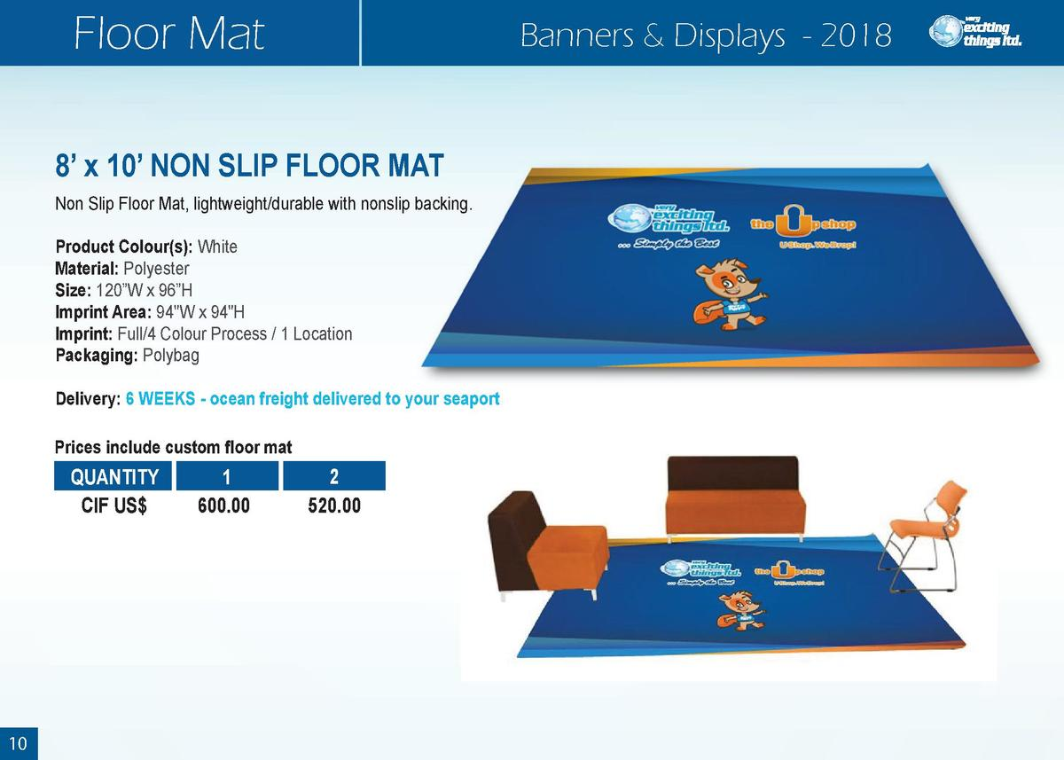 Floor Mat  Banners   Displays - 2018  8    x 10    NON SLIP FLOOR MAT Non Slip Floor Mat, lightweight durable with nonslip...