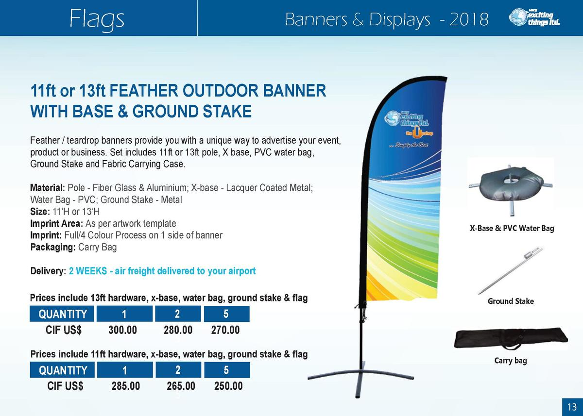 Flags  Banners   Displays - 2018  11ft or 13ft FEATHER OUTDOOR BANNER WITH BASE   GROUND STAKE Feather   teardrop banners ...