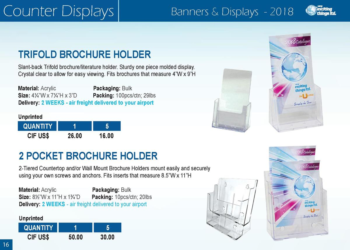 Counter Displays  Banners   Displays - 2018  TRIFOLD BROCHURE HOLDER Slant-back Trifold brochure literature holder. Sturdy...