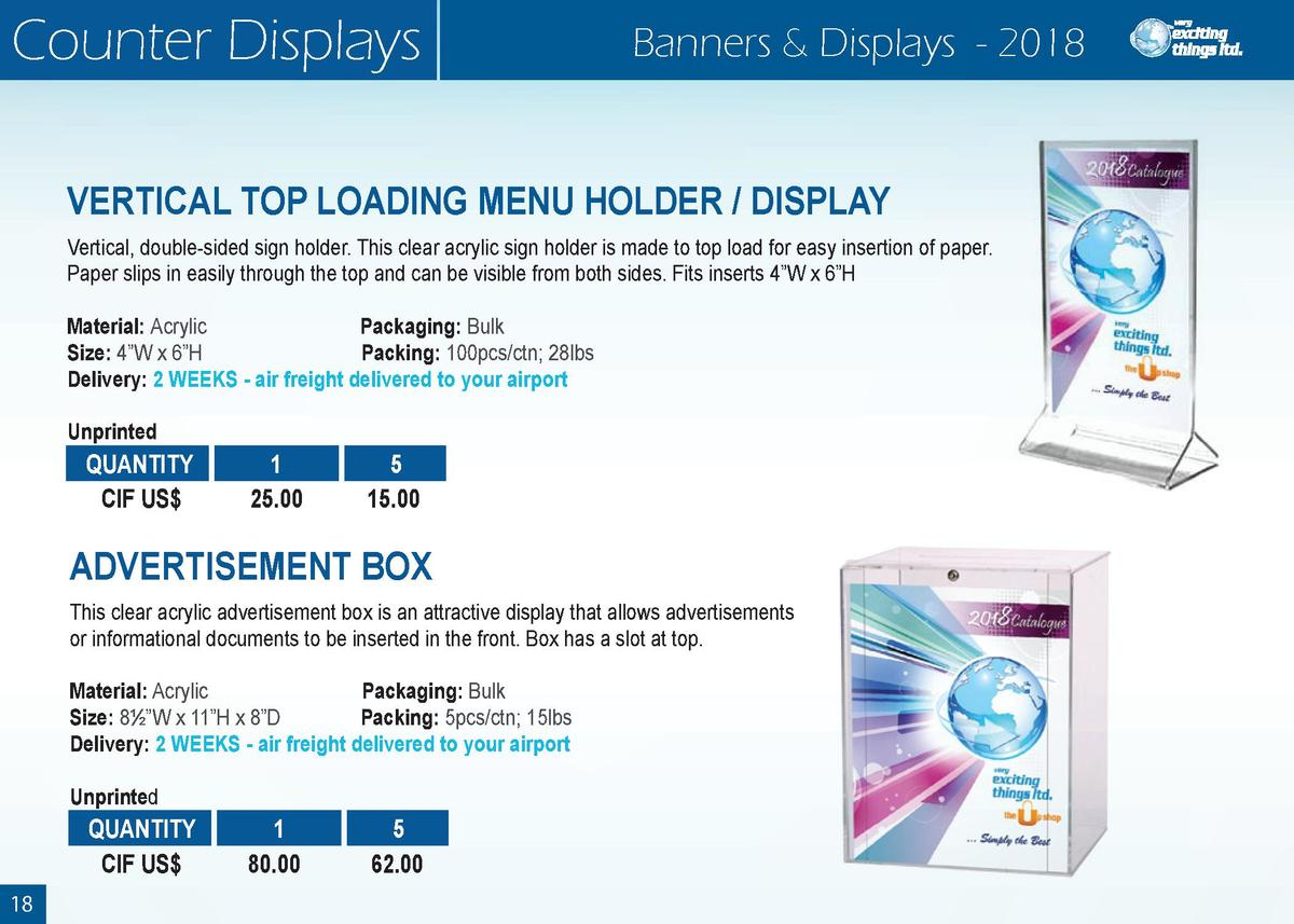 Counter Displays  Banners   Displays - 2018  VERTICAL TOP LOADING MENU HOLDER   DISPLAY Vertical, double-sided sign holder...