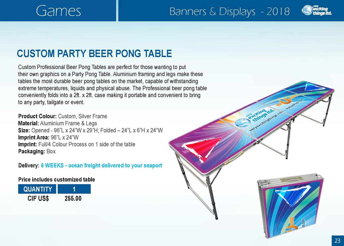 Games  Banners   Displays - 2018  CUSTOM PARTY BEER PONG TABLE Custom Professional Beer Pong Tables are perfect for those ...