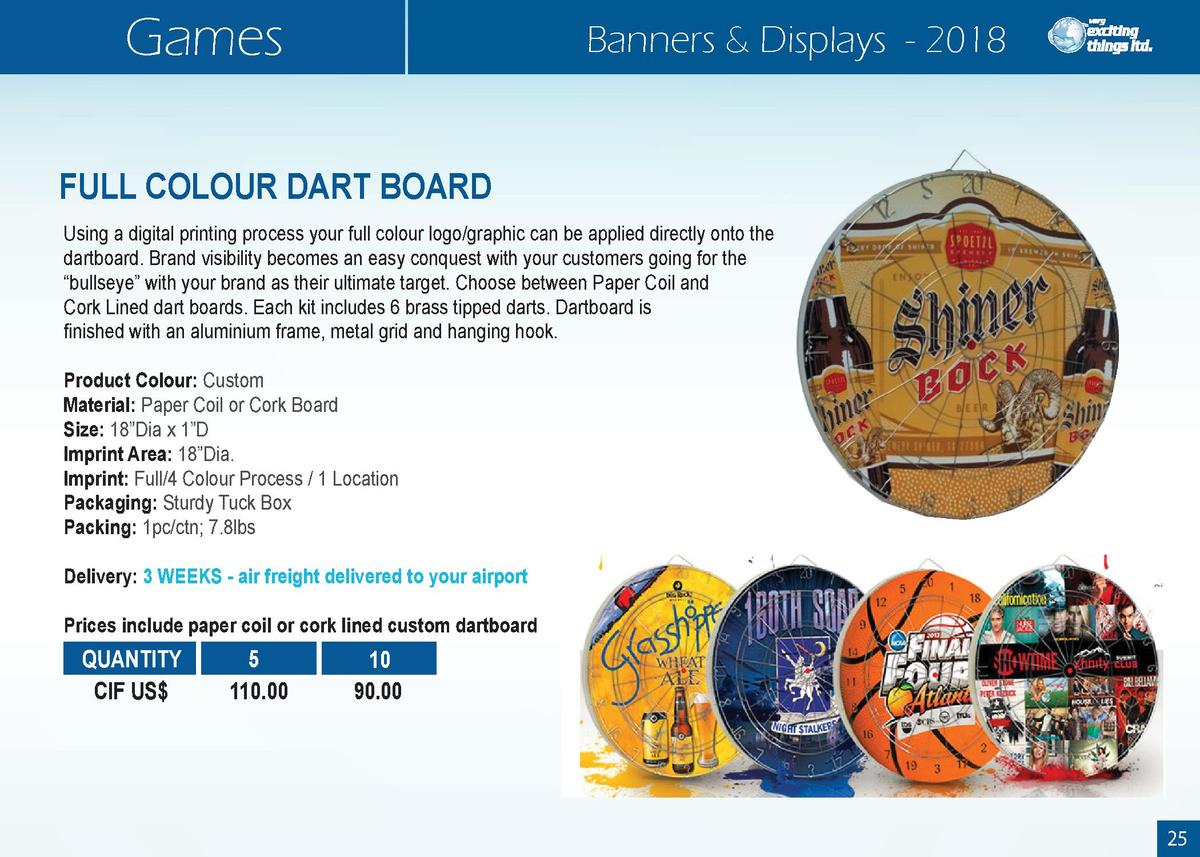 Games  Banners   Displays - 2018  FULL COLOUR DART BOARD Using a digital printing process your full colour logo graphic ca...