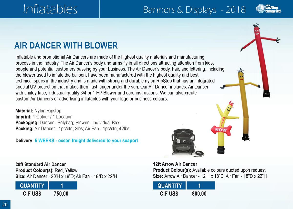 Inflatables  Banners   Displays - 2018  AIR DANCER WITH BLOWER Inflatable and promotional Air Dancers are made of the high...