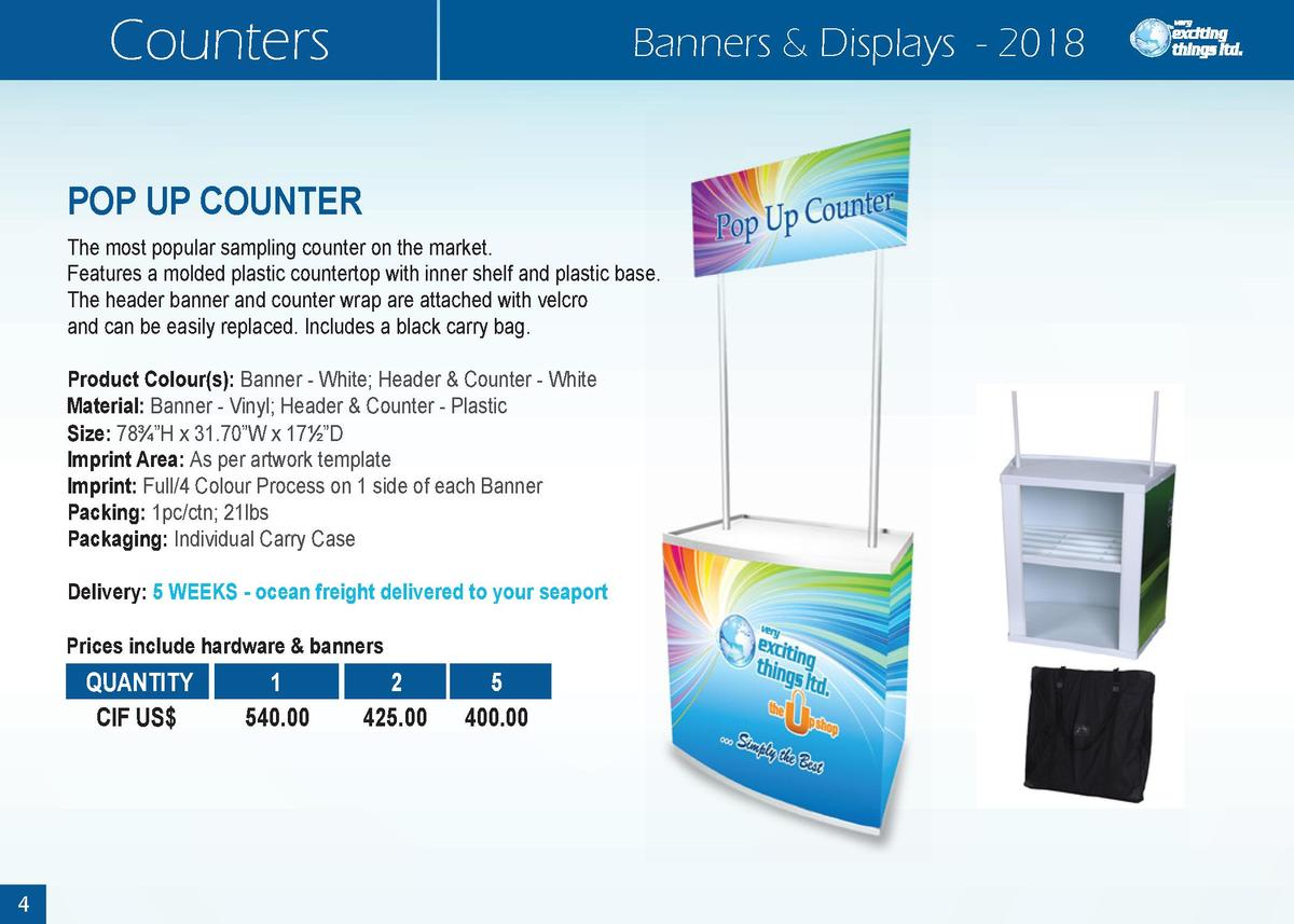Counters  Banners   Displays - 2018  POP UP COUNTER The most popular sampling counter on the market. Features a molded pla...