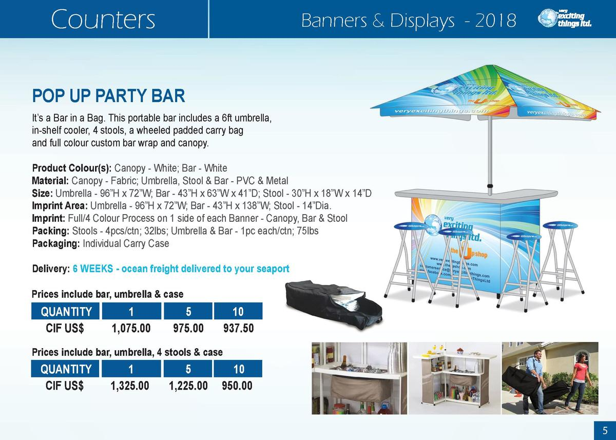 Counters  Banners   Displays - 2018  POP UP PARTY BAR It   s a Bar in a Bag. This portable bar includes a 6ft umbrella, in...