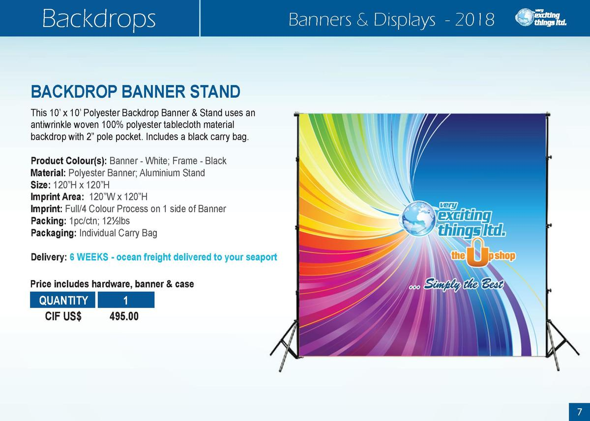 Backdrops  Banners   Displays - 2018  BACKDROP BANNER STAND This 10    x 10    Polyester Backdrop Banner   Stand uses an a...