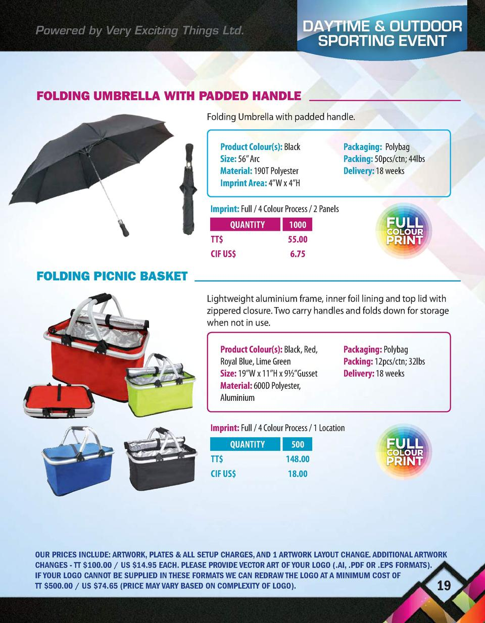 Powered by Very Exciting Things Ltd.  DAYTIME   OUTDOOR SPORTING EVENT  FOLDING UMBRELLA WITH PADDED HANDLE Folding Umbrel...