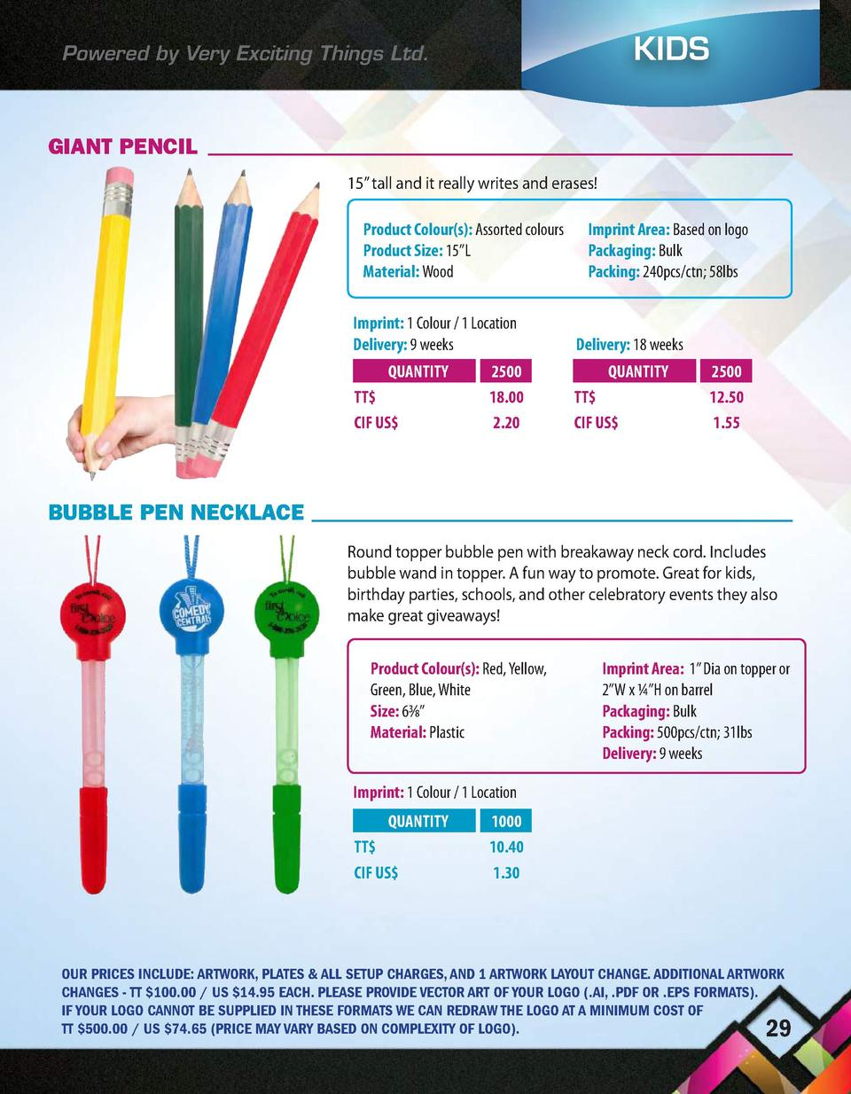 KIDS  Powered by Very Exciting Things Ltd.  GIANT PENCIL 15    tall and it really writes and erases  Product Colour s   As...