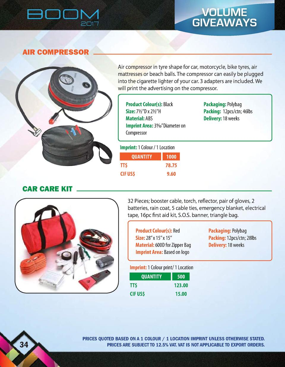VOLUME GIVEAWAYS AIR COMPRESSOR Air compressor in tyre shape for car, motorcycle, bike tyres, air mattresses or beach ball...