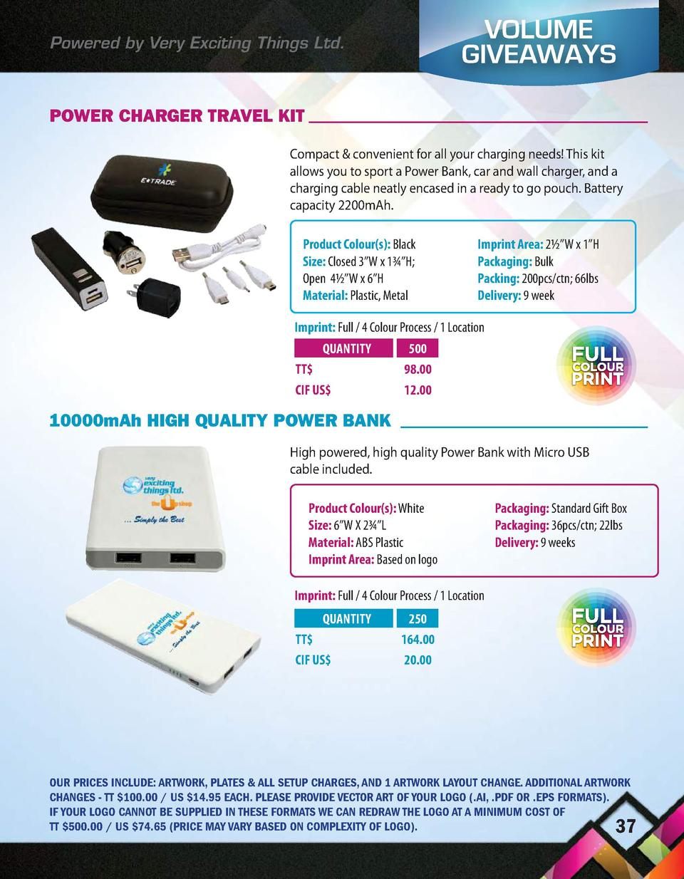 Powered by Very Exciting Things Ltd.  VOLUME GIVEAWAYS  POWER CHARGER TRAVEL KIT Compact   convenient for all your chargin...