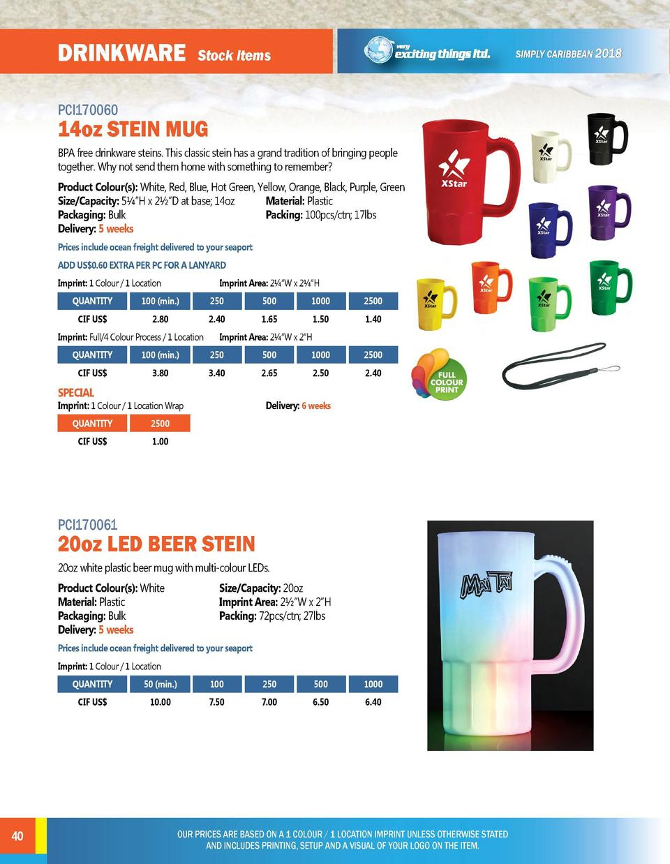 DRINKWARE  DRINKWARE  Stock Items  Stock Items  PCI170060  PCI170062  BPA free drinkware steins. This classic stein has a ...