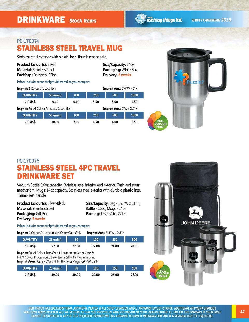 DRINKWARE  DRINKWARE  Stock Items  PCI170072  PCI170074  This stainless-steel travel mug with 12V car power function will ...