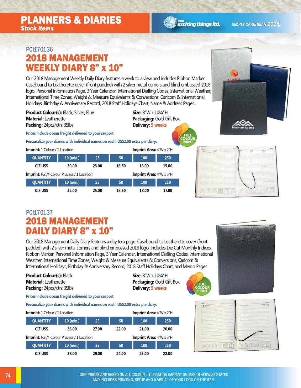 planners   diaries  paper products  Stock Items PCI170136  PCI170138  2018 MANAGEMENT WEEKLY DIARY 8    x 10     BUSINESS ...