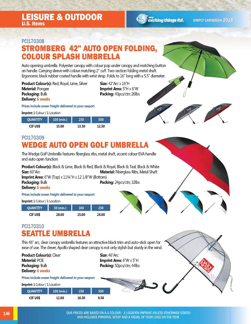 LEISURE   OUTDOOR U.S. Items  STROMBERG 42    AUTO OPEN FOLDING, COLOUR SPLASH UMBRELLA Auto opening umbrella. Polyester c...