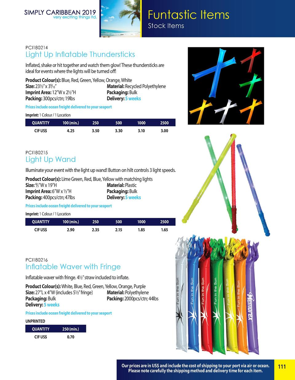 Funtastic Items Stock Items PCI180214  Light Up Inflatable Thundersticks Inflated, shake or hit together and watch them gl...