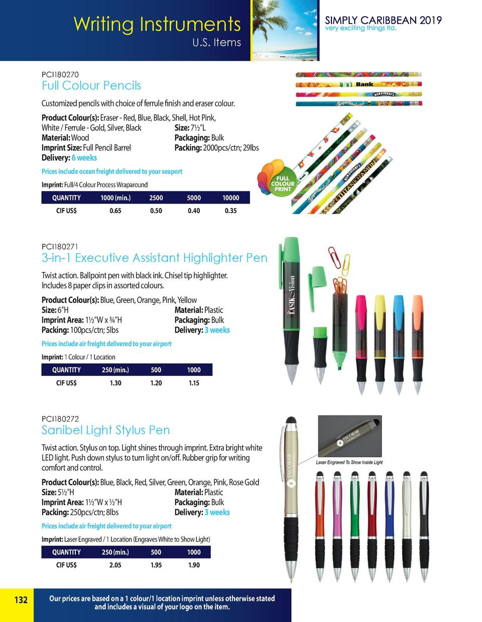 Writing Instruments U.S. Items PCI180270  Full Colour Pencils Customized pencils with choice of ferrule finish and eraser ...