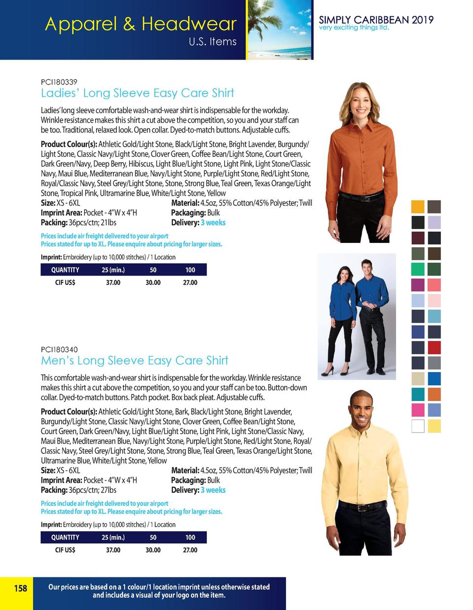 Apparel   Headwear U.S. Items  PCI180339  Ladies    Long Sleeve Easy Care Shirt Ladies    long sleeve comfortable wash-and...