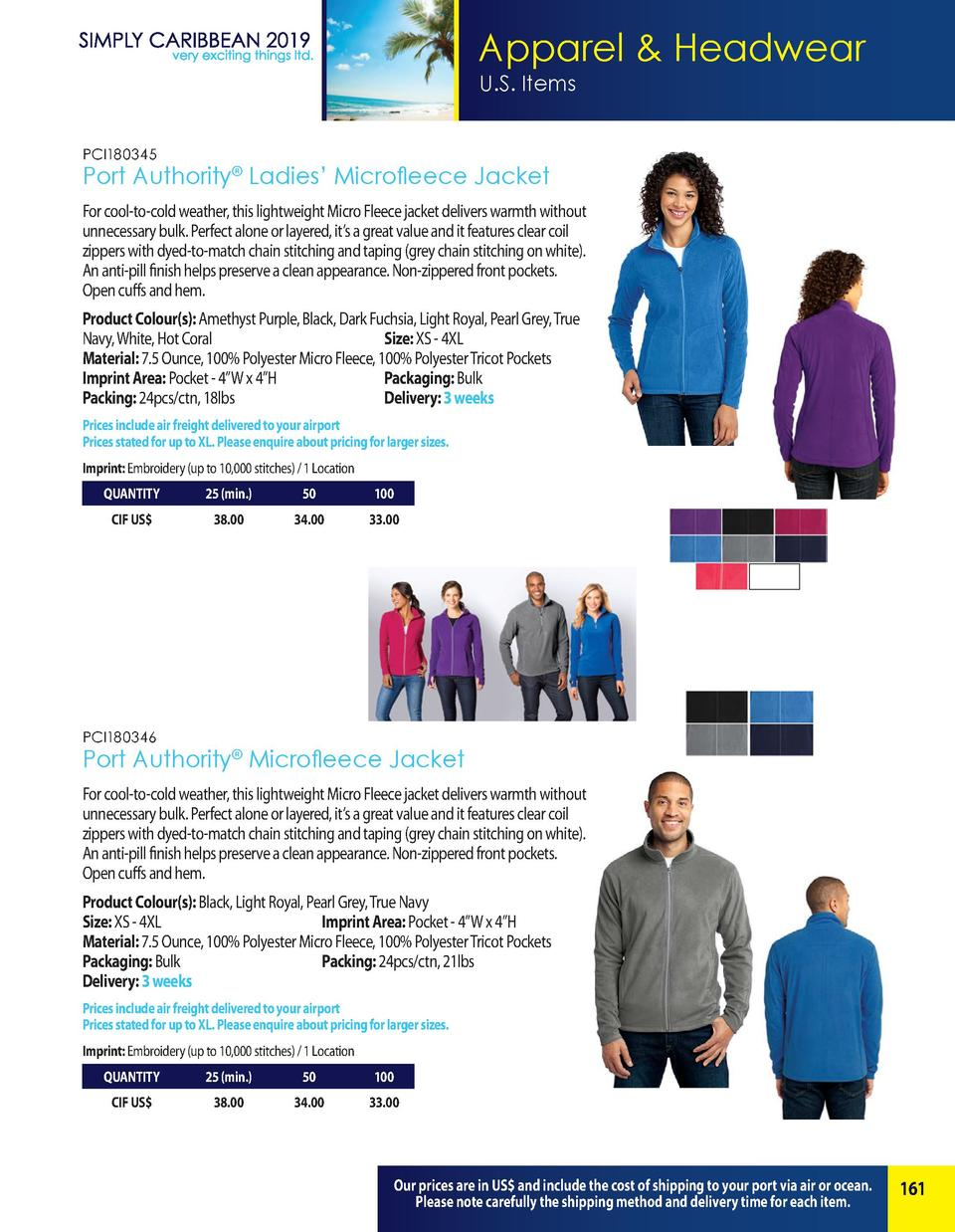 Apparel   Headwear U.S. Items PCI180345  Port Authority   Ladies    Microfleece Jacket For cool-to-cold weather, this ligh...