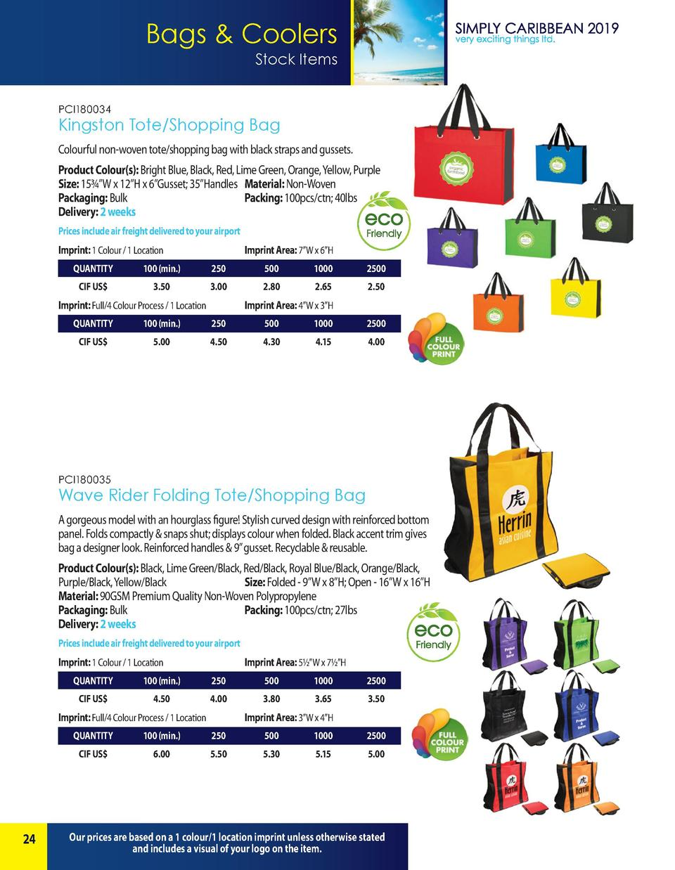 Bags   Coolers Stock Items PCI180034  Kingston Tote Shopping Bag Colourful non-woven tote shopping bag with black straps a...