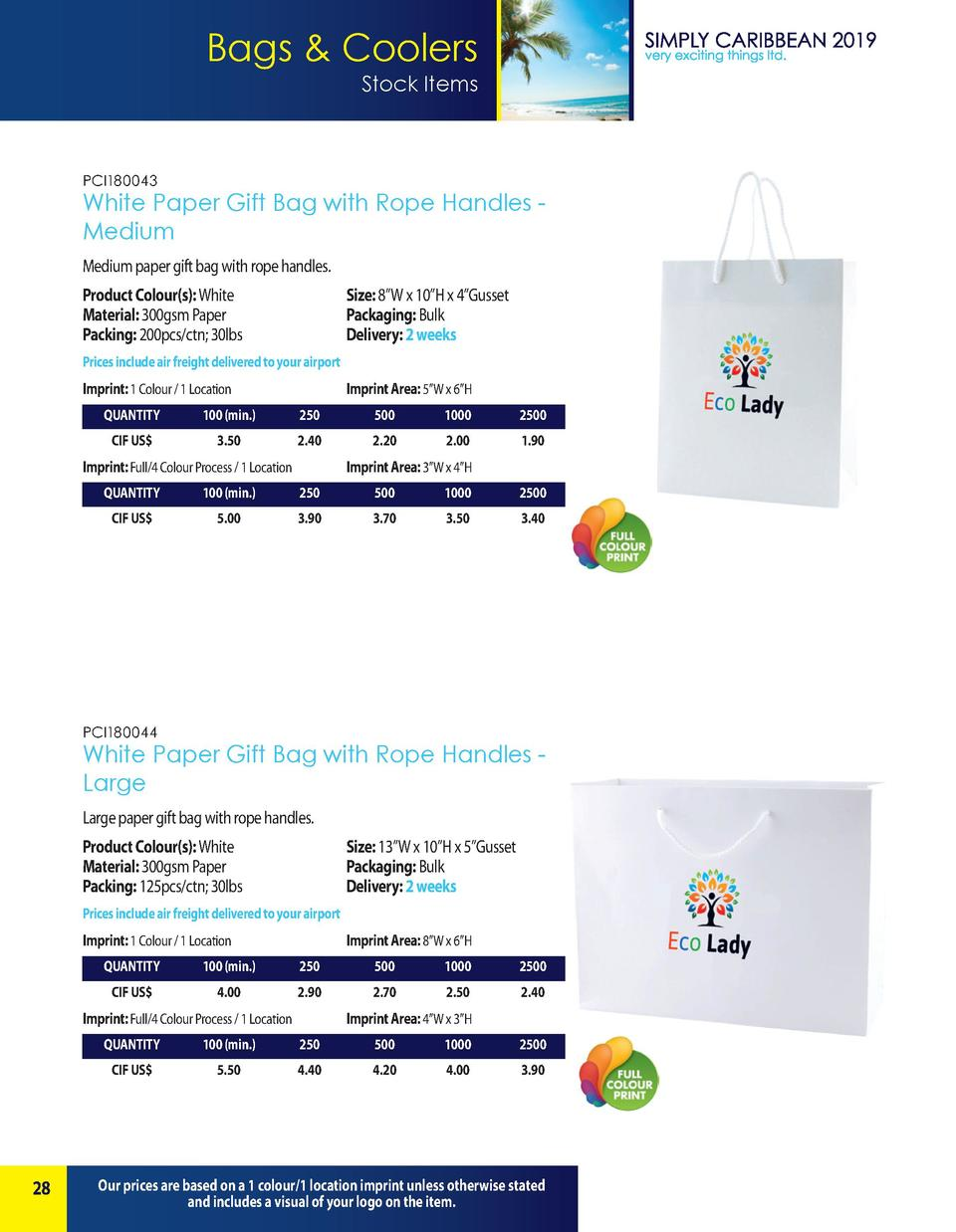 Bags   Coolers Stock Items  PCI180043  White Paper Gift Bag with Rope Handles Medium Medium paper gift bag with rope handl...