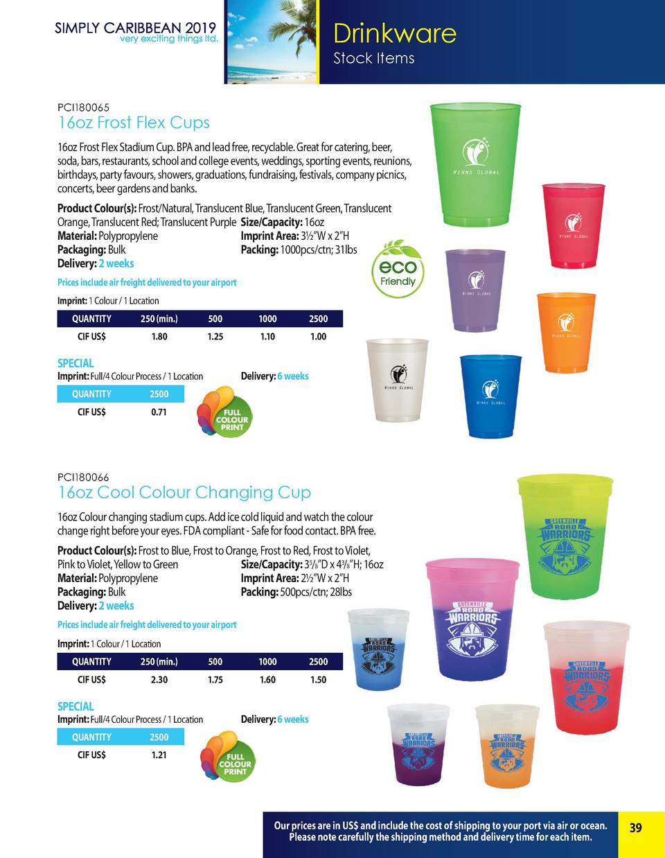Drinkware Stock Items PCI180065  16oz Frost Flex Cups 16oz Frost Flex Stadium Cup. BPA and lead free, recyclable. Great fo...