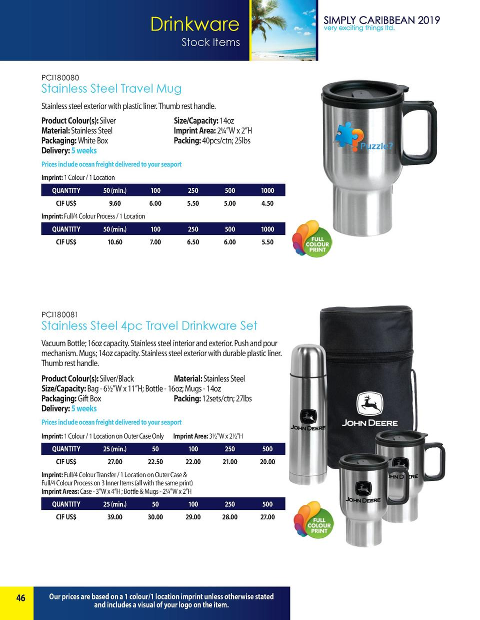 Drinkware Stock Items PCI180080  Stainless Steel Travel Mug Stainless steel exterior with plastic liner. Thumb rest handle...