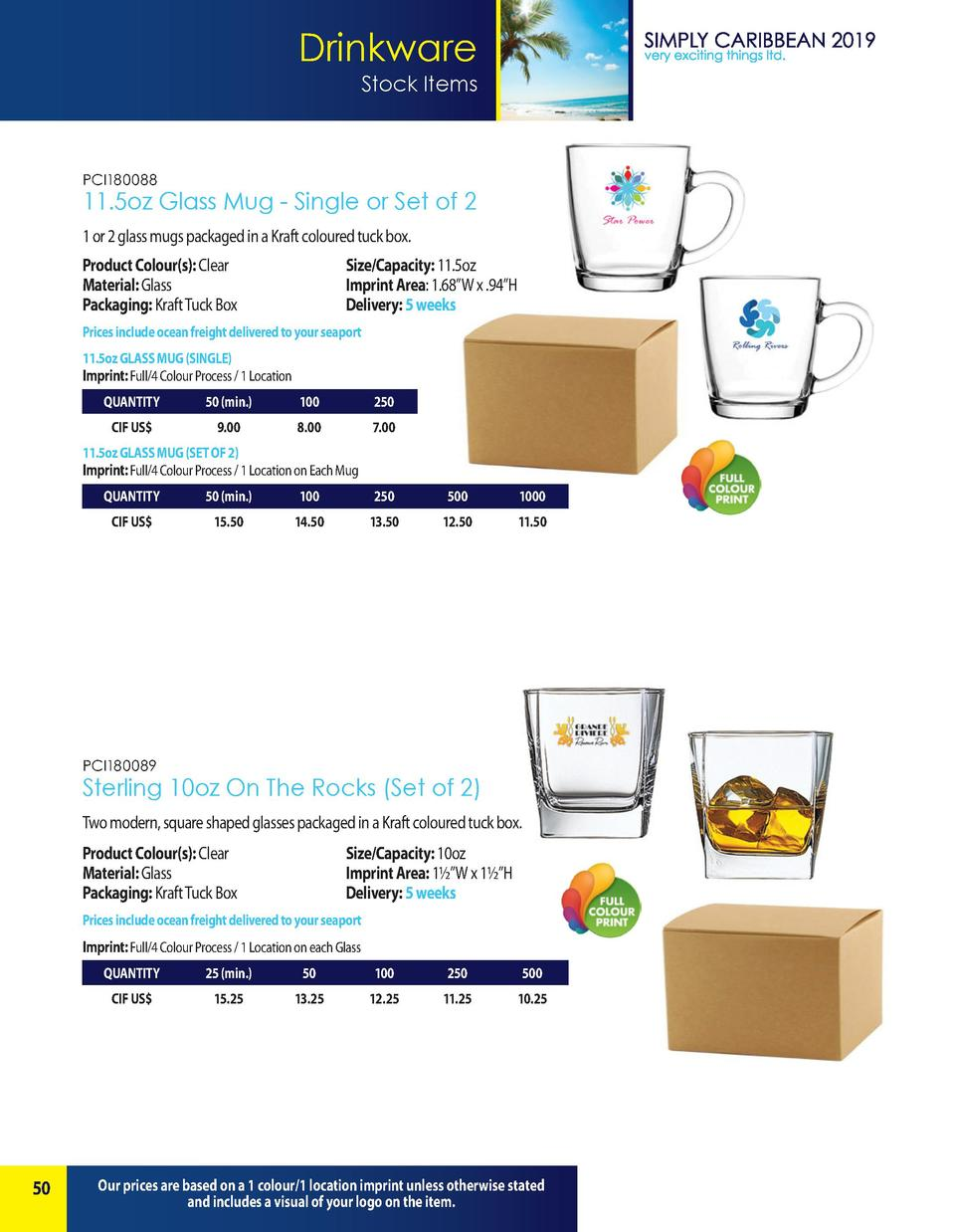 Drinkware Stock Items  PCI180088  11.5oz Glass Mug - Single or Set of 2 1 or 2 glass mugs packaged in a Kraft coloured tuc...