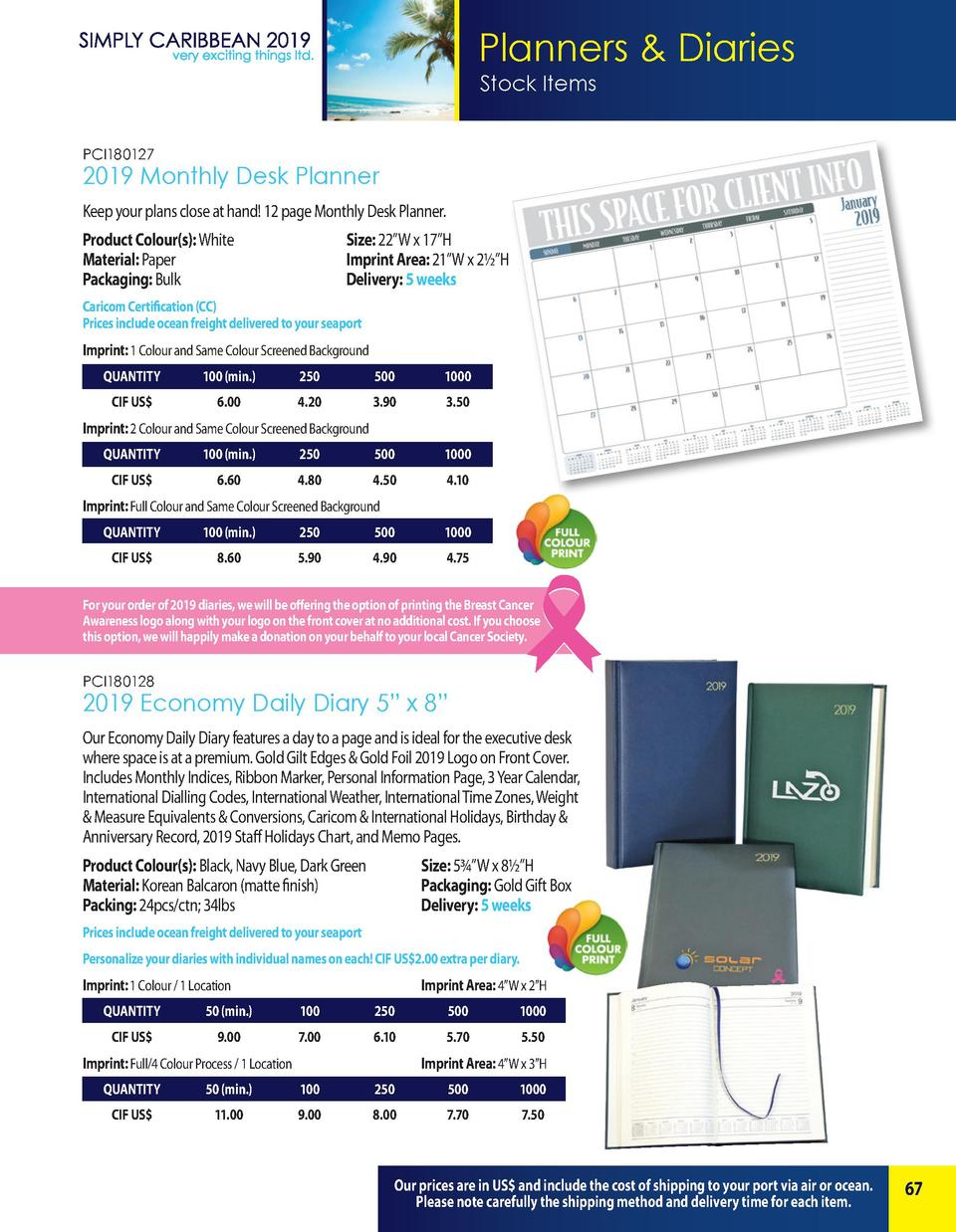 Planners   Diaries Stock Items PCI180127  2019 Monthly Desk Planner Keep your plans close at hand  12 page Monthly Desk Pl...