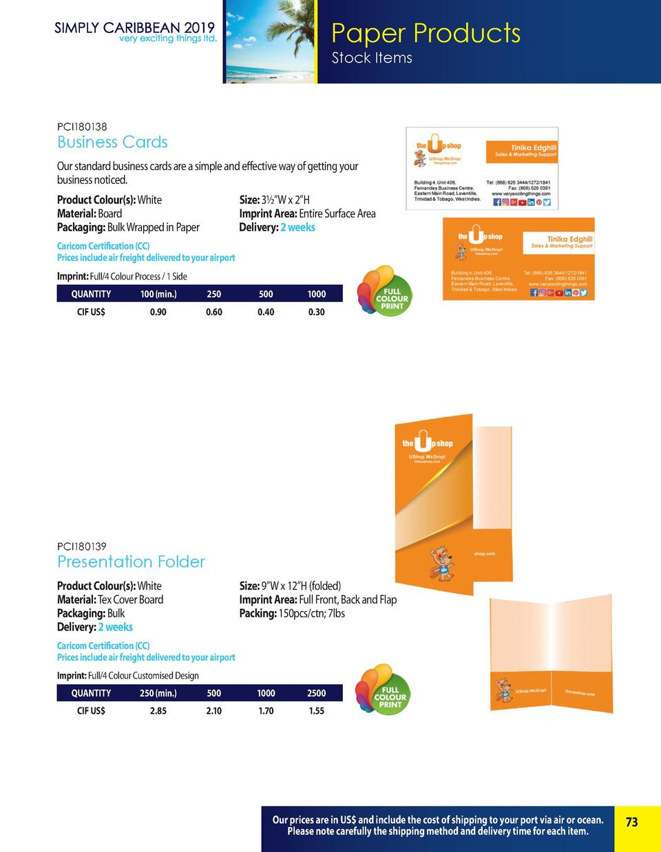 Paper Products Stock Items  PCI180138  Business Cards Our standard business cards are a simple and effective way of gettin...