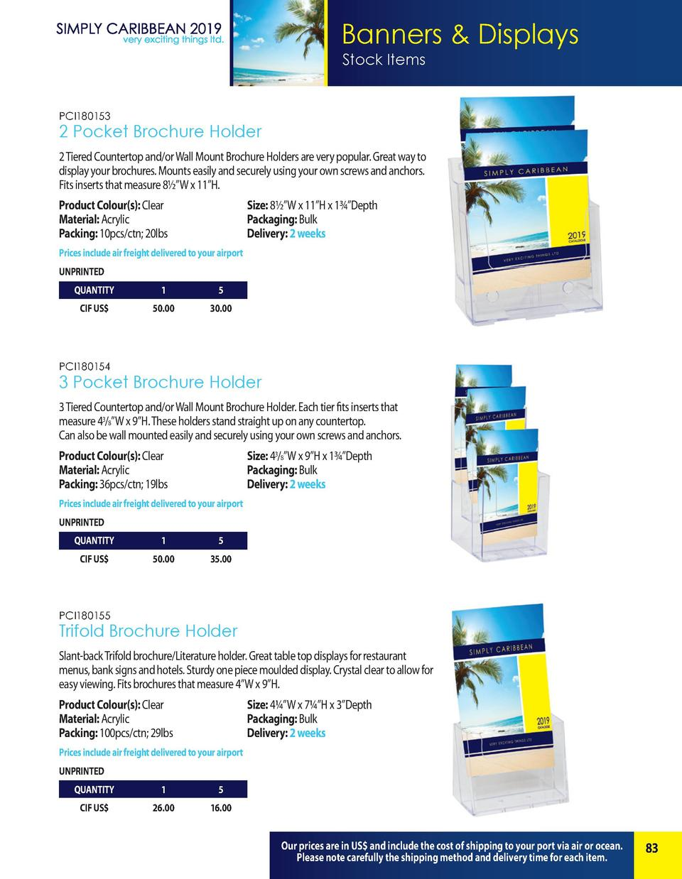 Banners   Displays Stock Items  PCI180153  2 Pocket Brochure Holder 2 Tiered Countertop and or Wall Mount Brochure Holders...