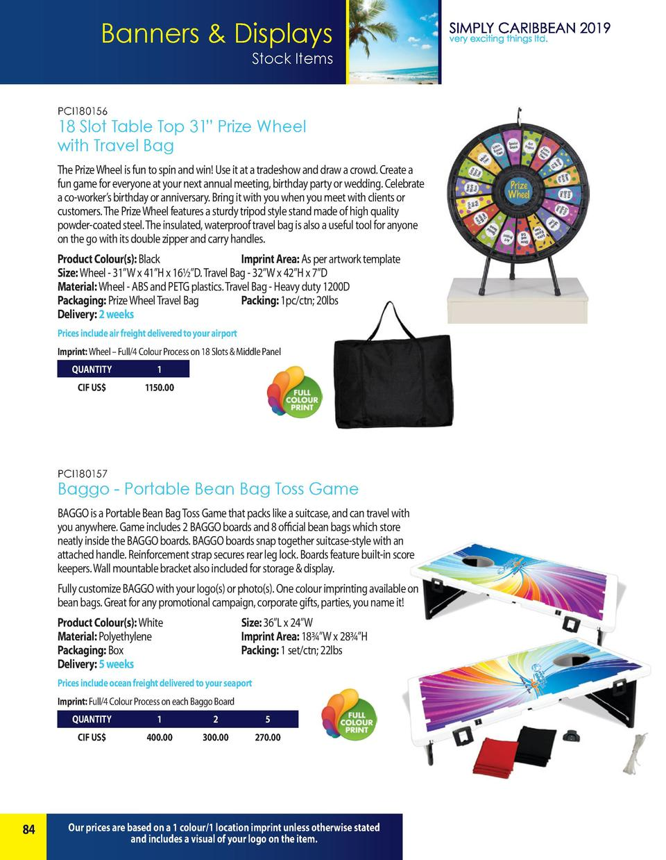 Banners   Displays Stock Items PCI180156  18 Slot Table Top 31    Prize Wheel with Travel Bag The Prize Wheel is fun to sp...