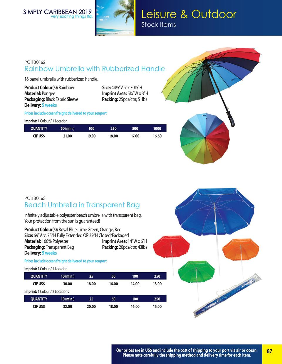 Leisure   Outdoor Stock Items  PCI180162  Rainbow Umbrella with Rubberized Handle 16 panel umbrella with rubberized handle...